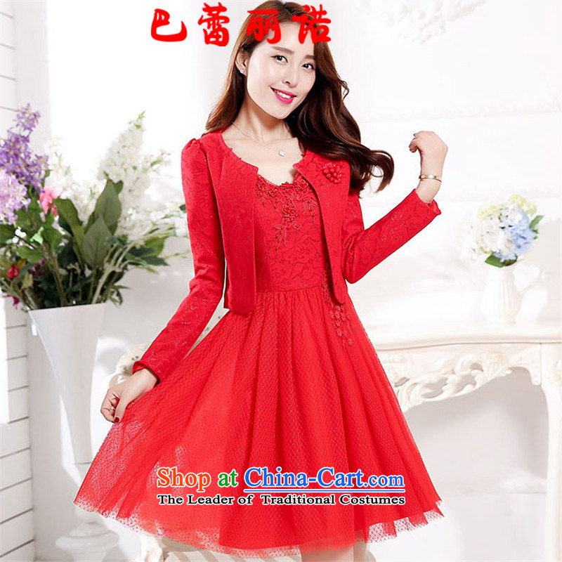The buds of 2015 autumn and winter, new V-Neck nail pearl floral decorations bride with gauze sleeveless bon bon skirt + jacket two kits bows to the skirt dress RED聽M