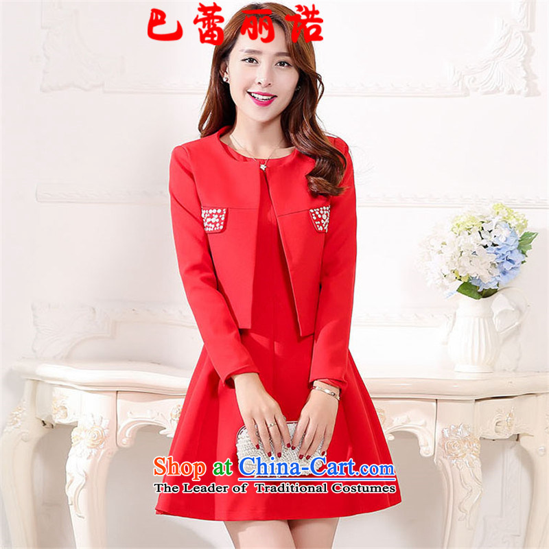 The buds of 2015 autumn and winter, the new bride red three-dimensional construction sleeveless minimalist bows off drill Services + jacket two kits dresses wedding dress red L