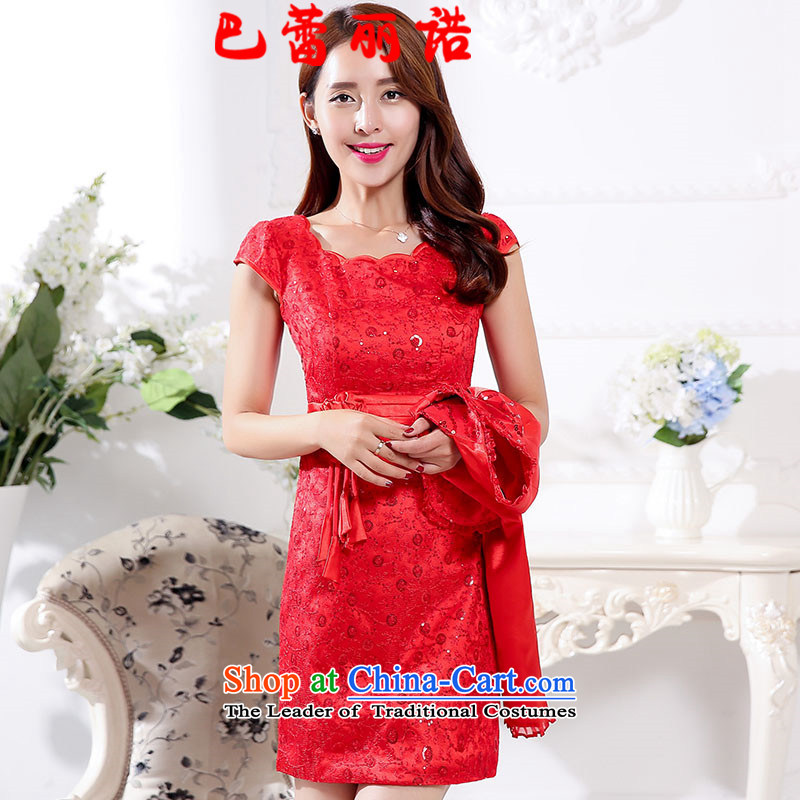 The buds of 2015 autumn and winter, new bright red bride wedding dress + short, long-sleeved jacket small two kits dresses bows dress RED?M