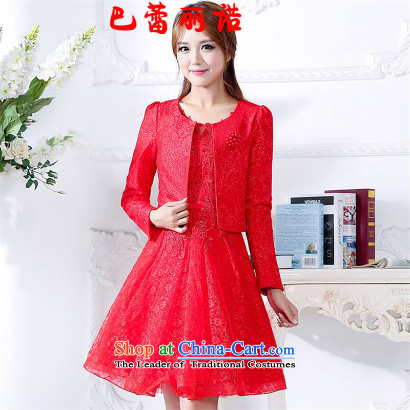 The buds of 2015 autumn and winter, the new bride with large round-neck collar sleeveless bon bon dresses two kits bows dress back to the door to red?XXL
