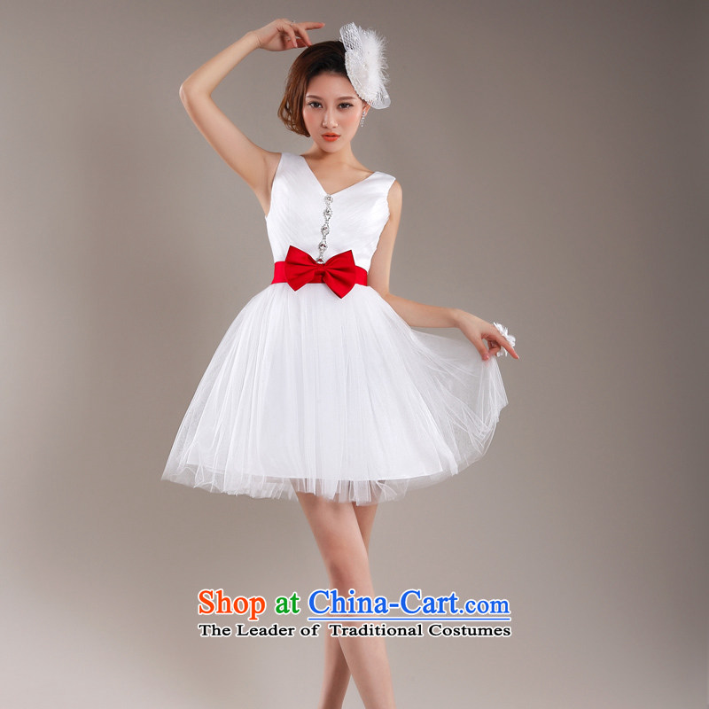 (Heung-lun's Health 2015 Sau San small Dress Short, bon bon skirt summer dresses shoulders short skirts bridesmaid mission dress spring and summer female white M