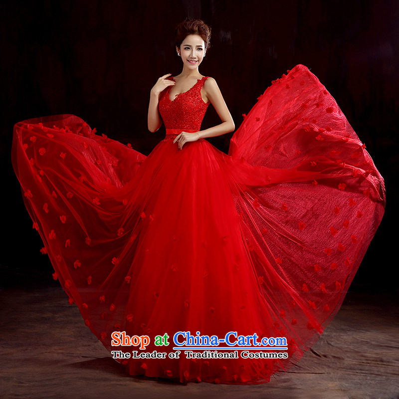Time of marriage bows serving Syrian brides dress long red autumn 2015 shoulders dress lace betrothal festival female red�XL