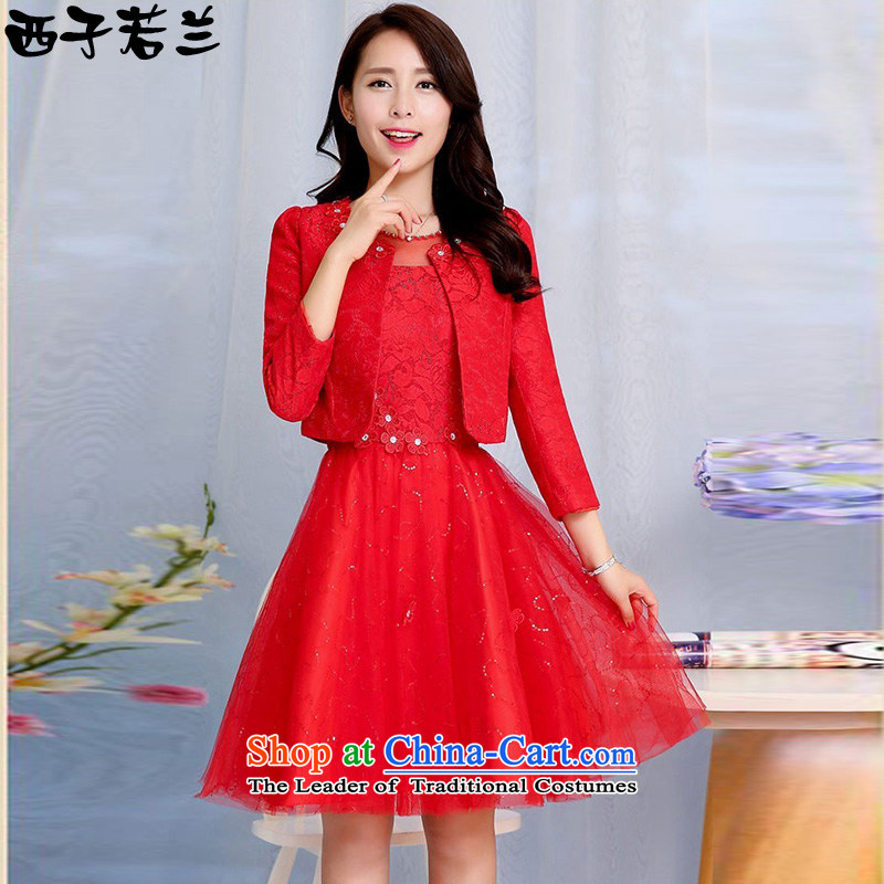 Hsitzu jorin spring and autumn 2015 installed new two kits dress bride bows services lace dresses?1582?Red?XL