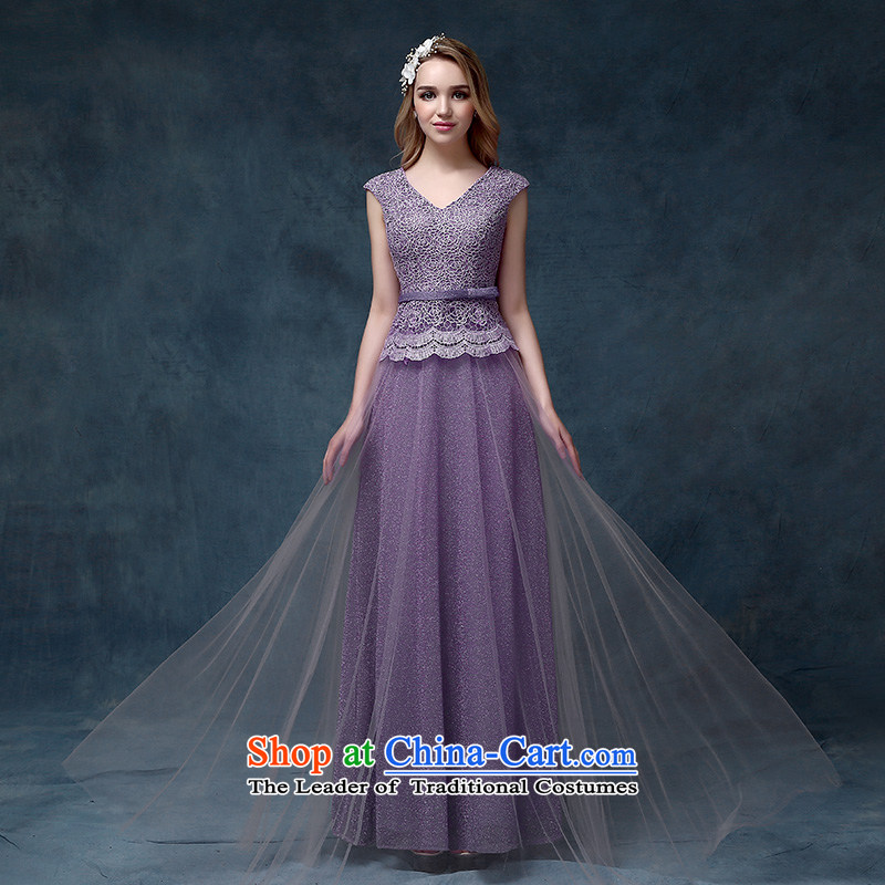 According to Lin Sha 2015 new shoulders V-Neck lace upscale dinner dress bride bows services long marriage evening dresses purple tailored consulting customer service