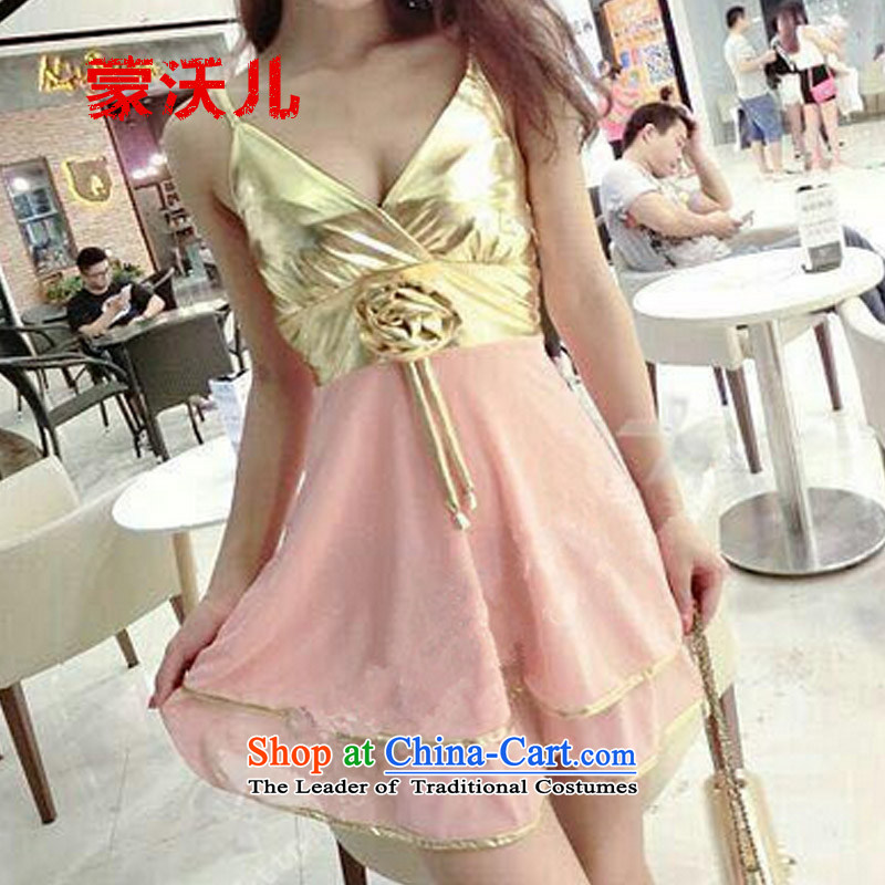 Montevideo Kosovo's?2015 new dresses autumn sexy bow tie strap with Hamor chest bon bon forming the night club dress code for women are pink
