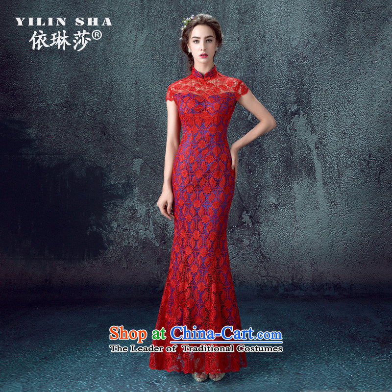 According to Lin Sha 2015 new bride qipao gown marriage bows services red collar embroidery long of Chinese Dress autumn red tailored consulting customer service