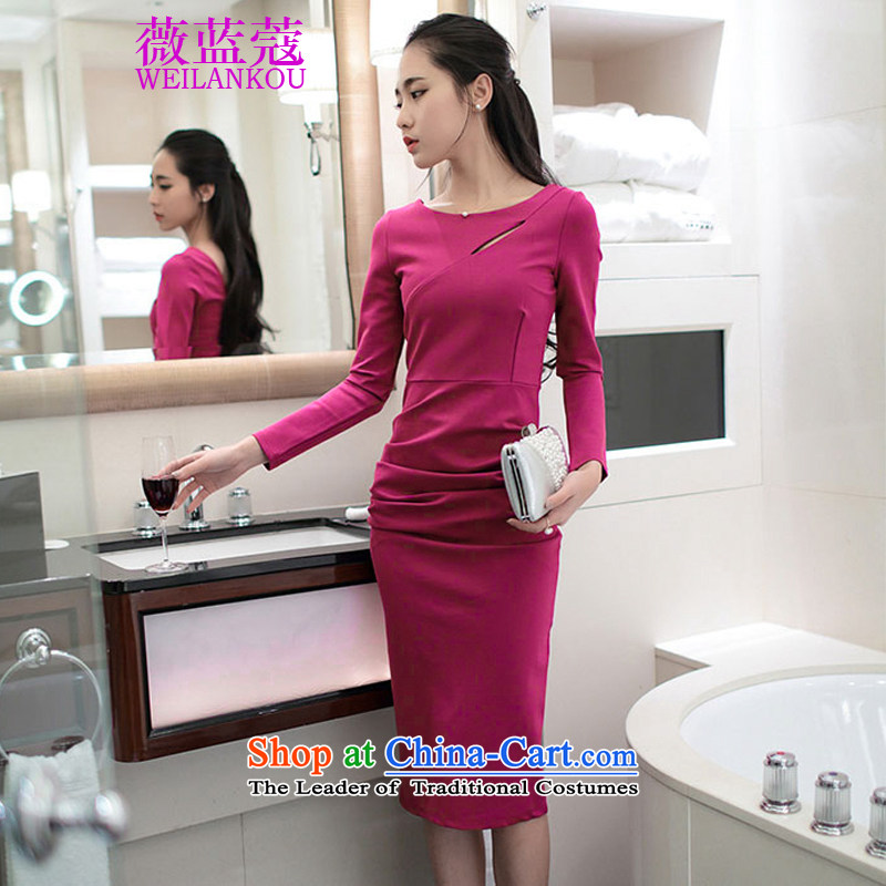 Ms Audrey EU blue Coe new Korean version of 2015, stylish look and feel of the breast, forming the back long-sleeved dresses engraving the forklift truck dress rose red聽M