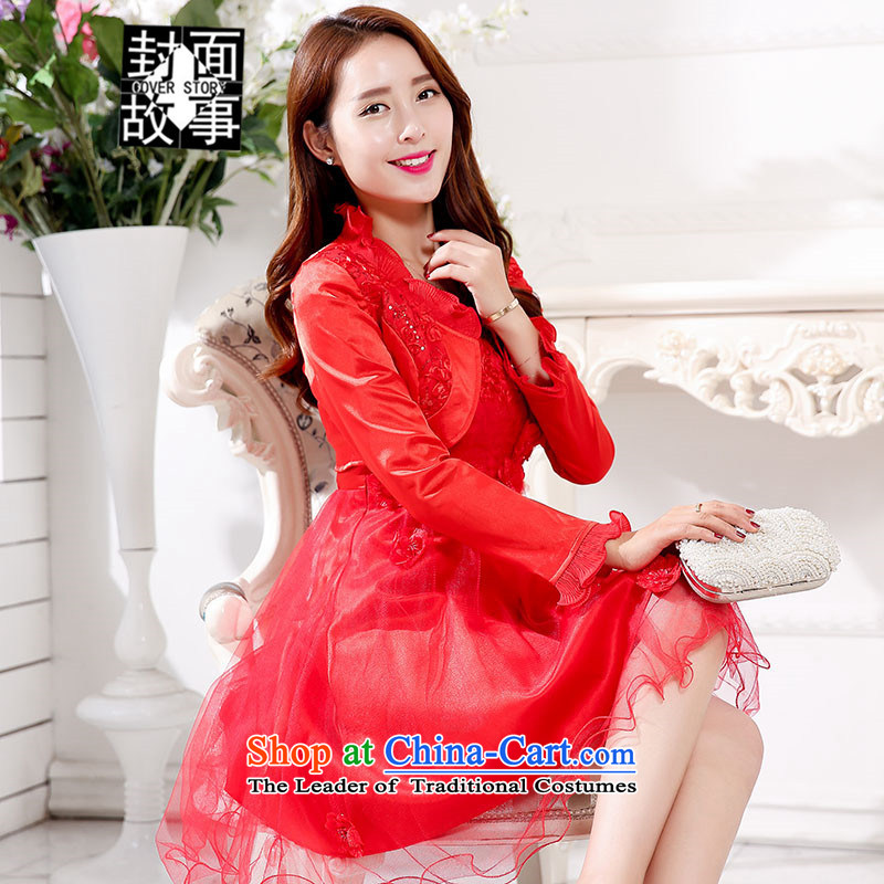 Cover story in the fall of 2015, the new red wine in the skirt the wedding with small jacket bride clothes sleeved clothing short of marriage shoulders Female dress red L
