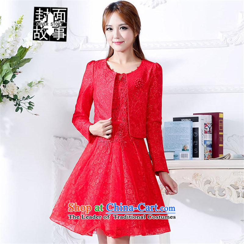 Cover Story 2015 long-sleeved jacket round-neck collar + Return door onto evening dresses pregnant women small red two kits bride bows services even red?XXXL Wedding dress