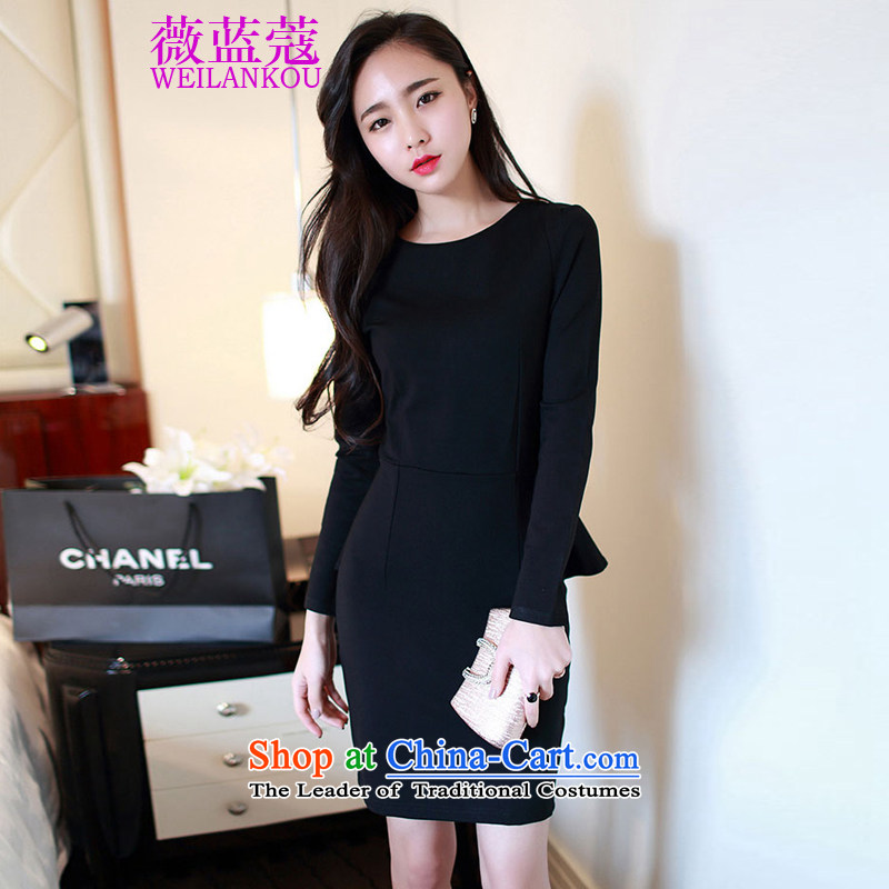 Ms Audrey EU blue long-sleeved new 2015 Coe elegant forming the gift of the Sau San skirts services Korean married red dress black�L
