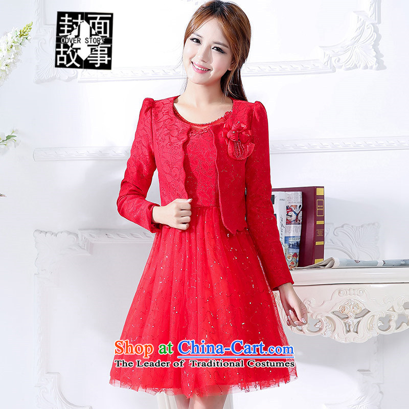 Cover Story 2015 Wedding Dress Short jacket, + dresses dresses two kits back door onto evening drink service bridal red?L