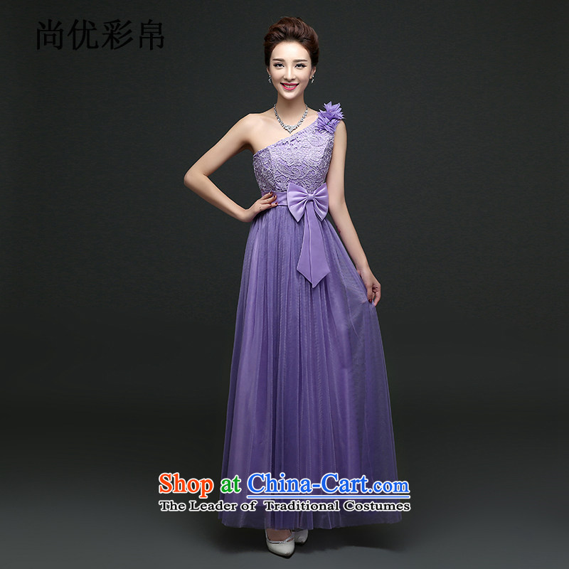 There is also optimized 8D long skirt fine nail pearl sister shoulders bridesmaid skirt sister services Korean bows services will dress mz5114 Purple