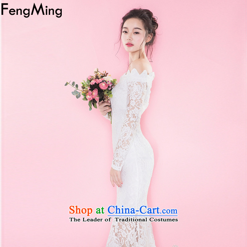 Hsbc Holdings plc Ming Chu New Europe and the 2015 big aristocratic temperament dress lace for long-sleeved crowsfoot white dresses , HSBC Holdings plc (fengming ming) has been pressed shopping on the Internet