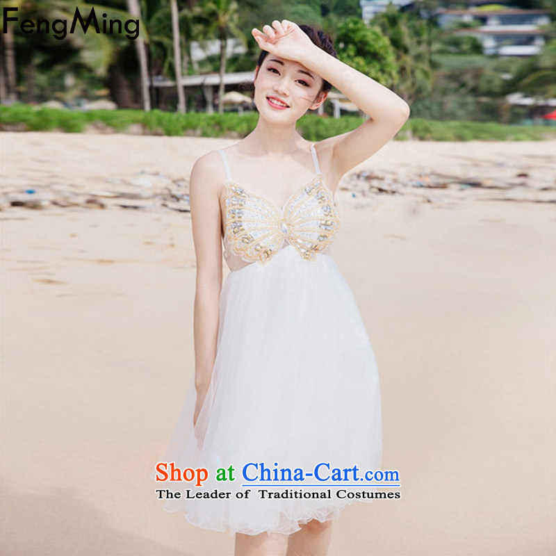 Hsbc Holdings plc Ming resort fairies skirt 2015 Butterfly heavy industry staples pearl strap dresses lei mesh yarn stitching doll skirt evening dress skirt white L