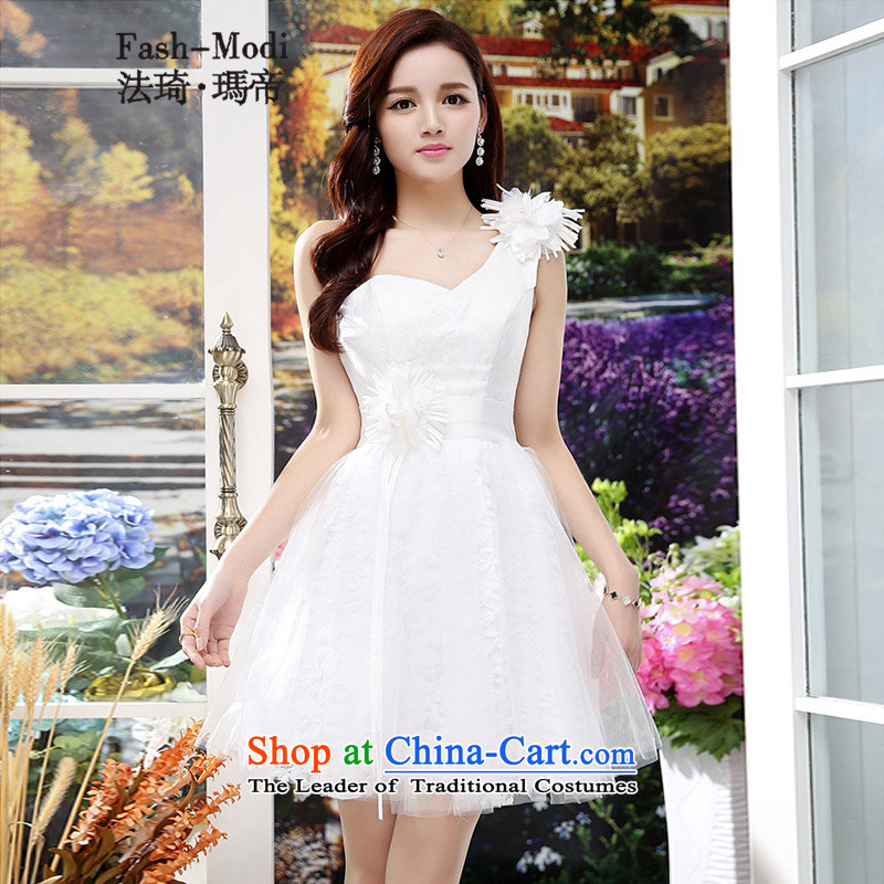 Law Chi Princess Royal 2015 new fall back door bows Service Bridal Sau San video wedding set thin bridesmaid Beveled Shoulder dress lace dresses and sexy will White聽XL