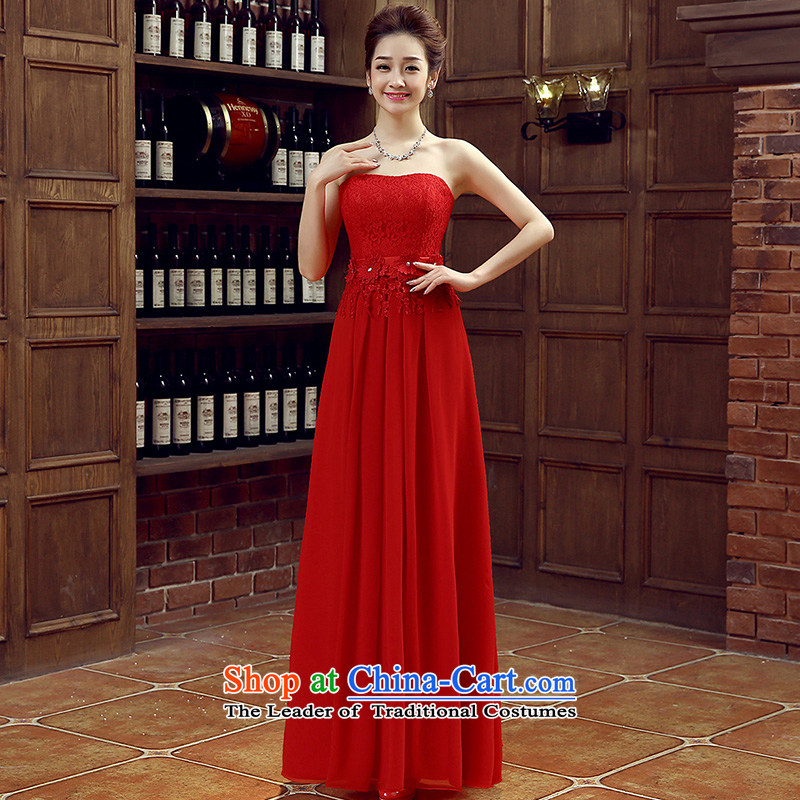 Non-you do not marry�2015 new stylish wedding dress wiping the chest long skirt ultra-thin lace toasting champagne video services bridesmaid to Sau San services engraving strap dresses large red�S