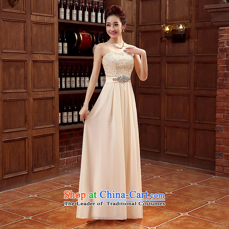 You do not marry non- bride evening dresses and 2015 chest embroidery lace long skirt Fashion foutune strap dresses chiffon tie bows services serving bridesmaid champagne color L