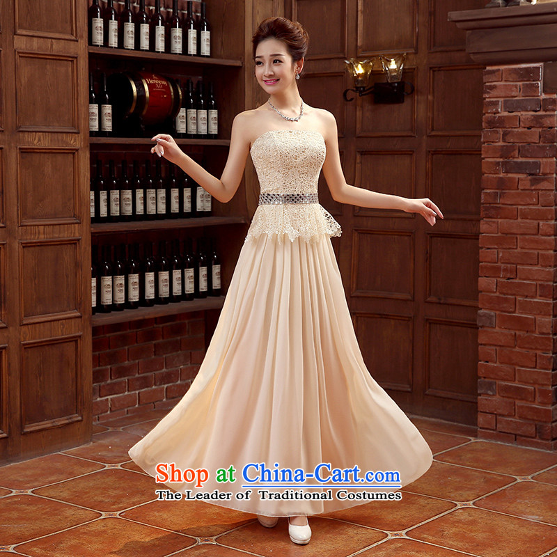 Non-you do not marry?2015 new evening dresses lace wiping the chest long skirt video thin bride toasting champagne Sau San services embroidered strap bridesmaid services moderator dress champagne color?M