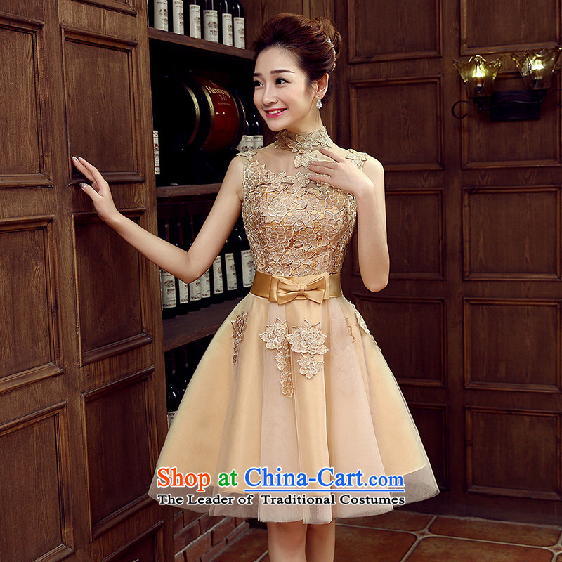 Non-you do not marry聽2015 new drink water-soluble blossoms population services dresses and sexy beauty wedding dress bow tie foutune bridesmaid services gauze dresses champagne color聽 M