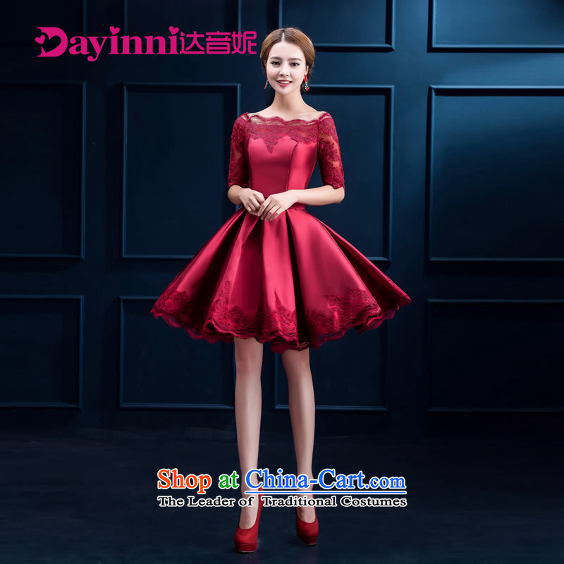 2015 Summer Wine red marriages bows to lace 7 short-sleeved) wedding dinner evening dresses female RED?M