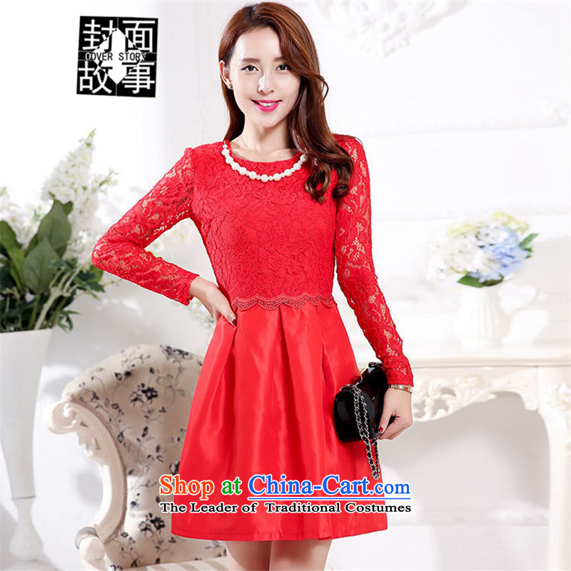 Cover Story in spring and autumn 2015 replacing long-sleeved female lace dresses toasters evening dresses large red bride back to door onto Red�XXL toasting champagne services