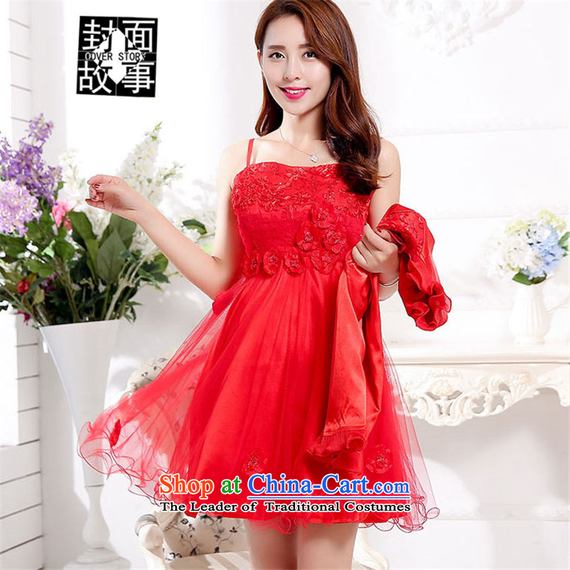 Cover Story 20152015 new dresses short, bon bon skirt red bows Service Bridal replacing lace wedding dress with Red Shawl?L