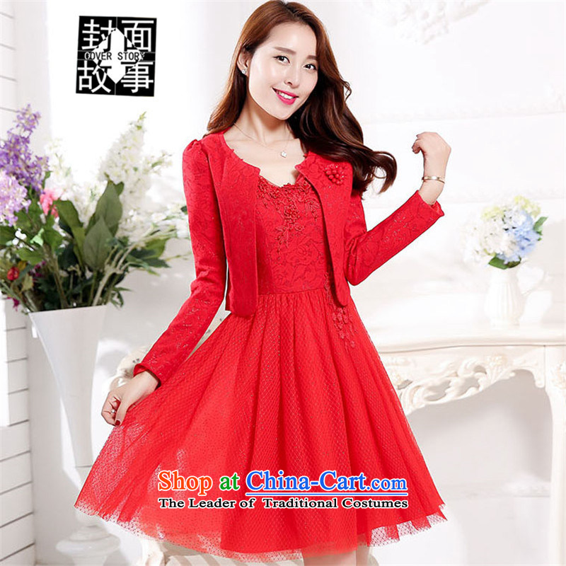 Cover Story of autumn and winter marriages evening dresses wedding bows Services Red Dress two kits back door onto bridesmaid services RED M