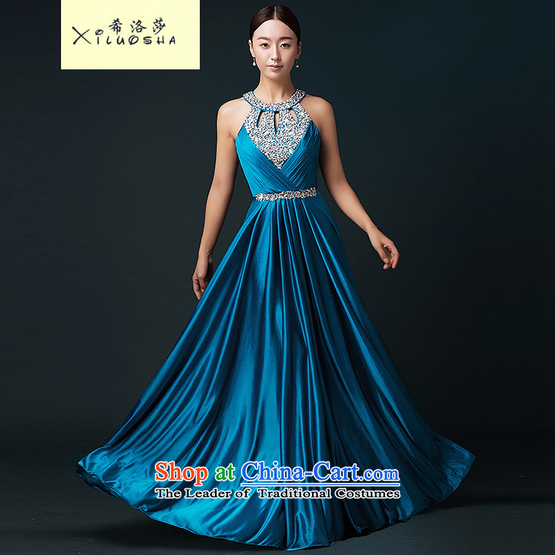 Hillo XILUOSHA Lisa (Moderator) dress girl will banquet evening dress long service bridal dresses bows autumn wedding dress hang also lake blue�XXL