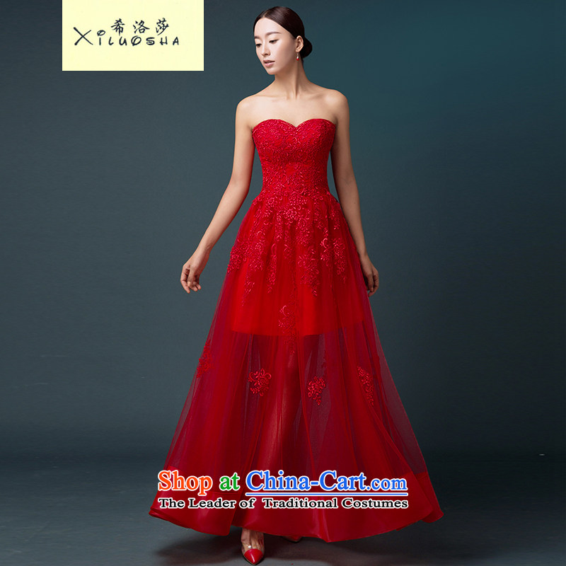 Hillo Lisa _XILUOSHA_ Bride dresses and chest service banquet marriage bows evening dresses long 2015 new autumn wedding dresses long red聽M
