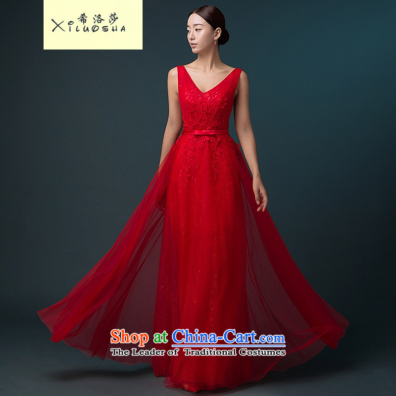 Hillo Lisa _XILUOSHA_ Wedding dress red bows services 2015 new autumn bows dress shoulders stylish banquet evening dress long red聽s