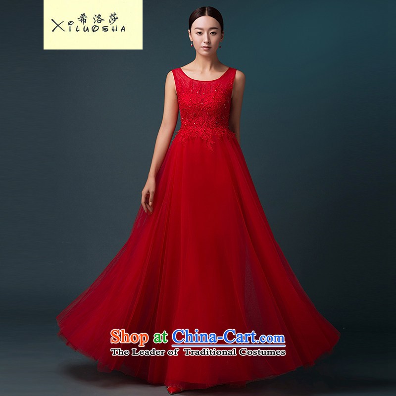 Hillo XILUOSHA Lisa (bride dress red marriage) bows stylish banquet dinner dress uniform long evening dress autumn 2015 New Red?L