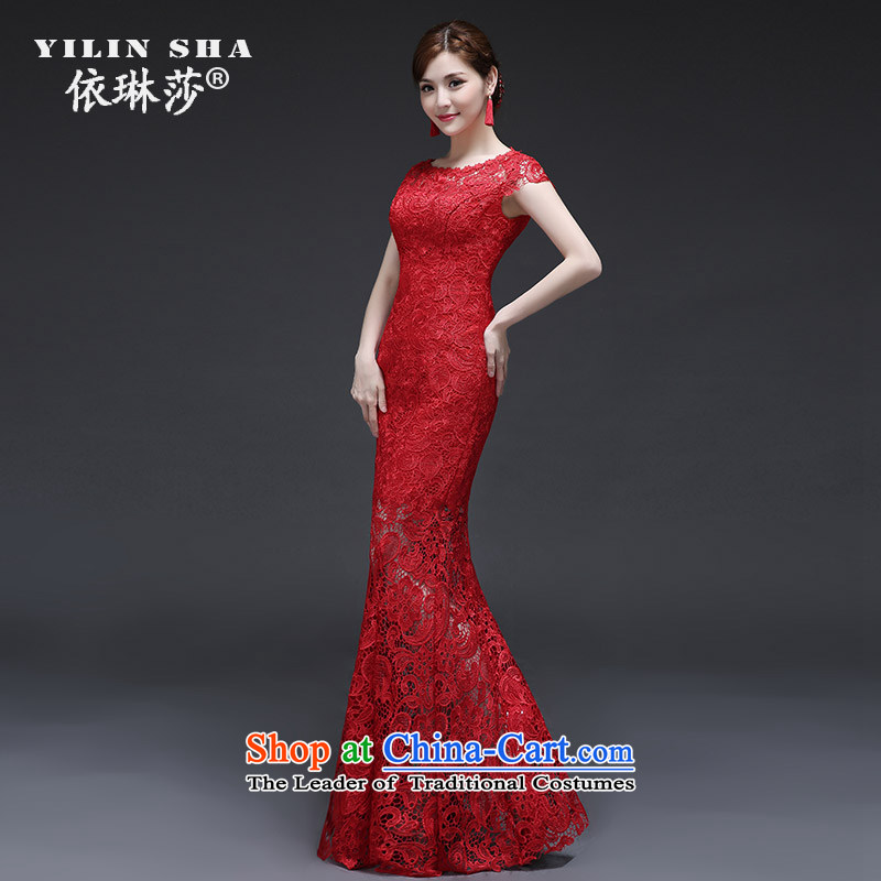 According to Lin Sa 2015 Autumn new bride crowsfoot long serving drink red marriage qipao dinner of the Sau San dress summer short-sleeved�XL