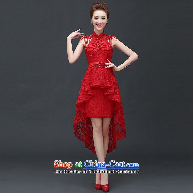 According to Lin Sha 2015 new bride front stub long after the marriage services long video transmitted the word thin red dress shoulder female red tailored consulting customer service