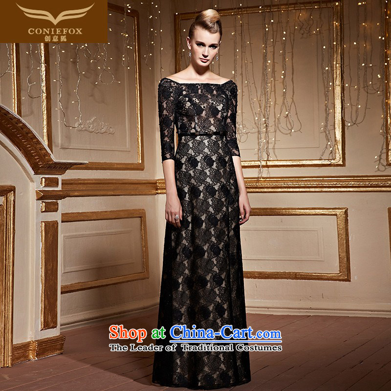 Creative word fox shoulder lace banquet hosted the annual dinner dress dress fashion, long-sleeved evening drink service red carpet dress long skirt 30932 Black�M