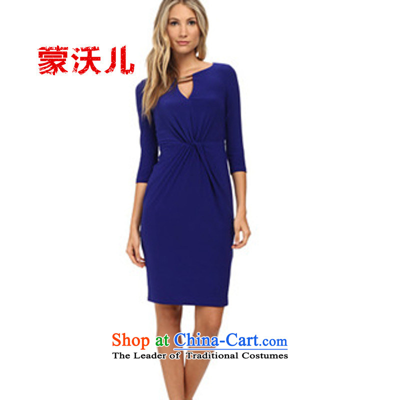 ?2015 Autumn-Monrovia Kosovo explosions of sexy fold dresses and dresses package dresses spot Blue?M
