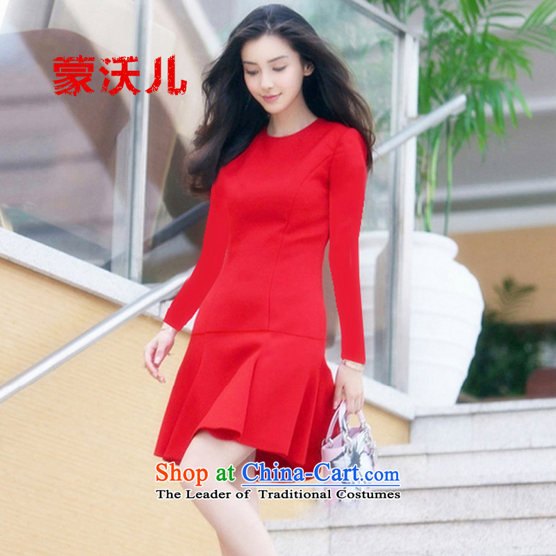 �2015 Autumn-Monrovia Kosovo new products dresses long-sleeved baby stars of the same bridesmaid dress in red dress crowsfoot skirt red�L