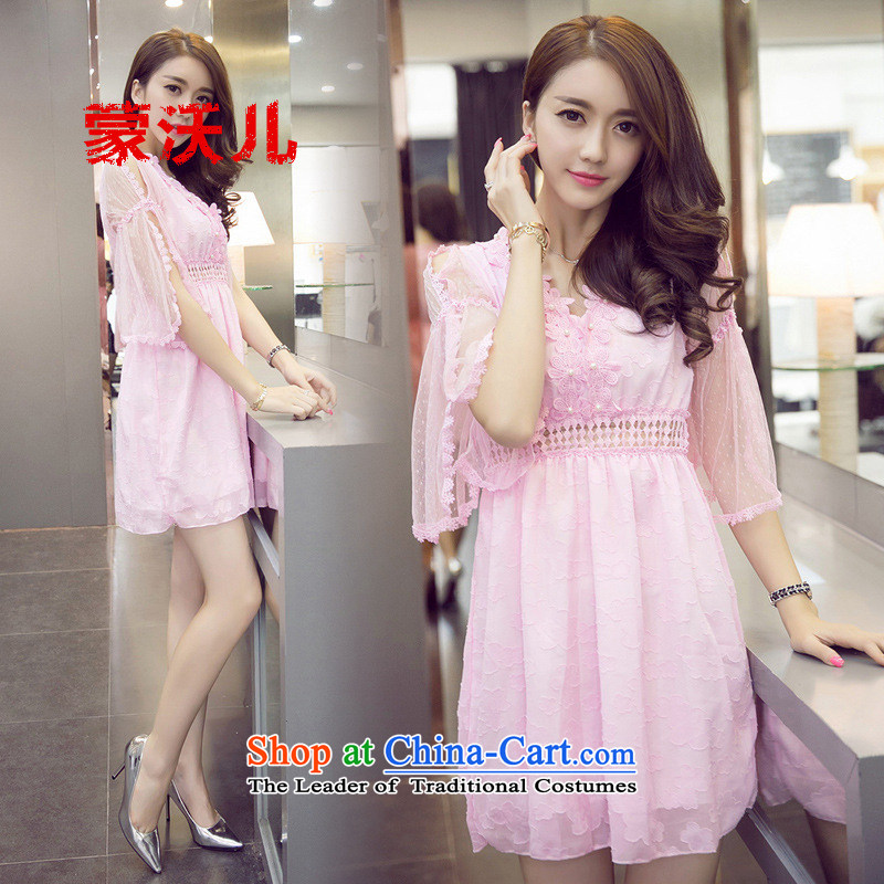 ?2015-January Monrovia Kosovo of horn cuff sexy V-Neck foutune chiffon lace dresses princess skirt pink dresses?M