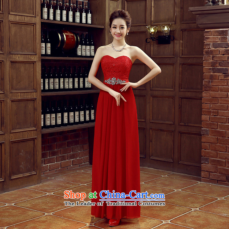 Non-you do not marry�2015 new evening dresses sweet flowers sleeveless shirt long skirt lace engraving tie long skirt foutune bridesmaid moderator dress red�L