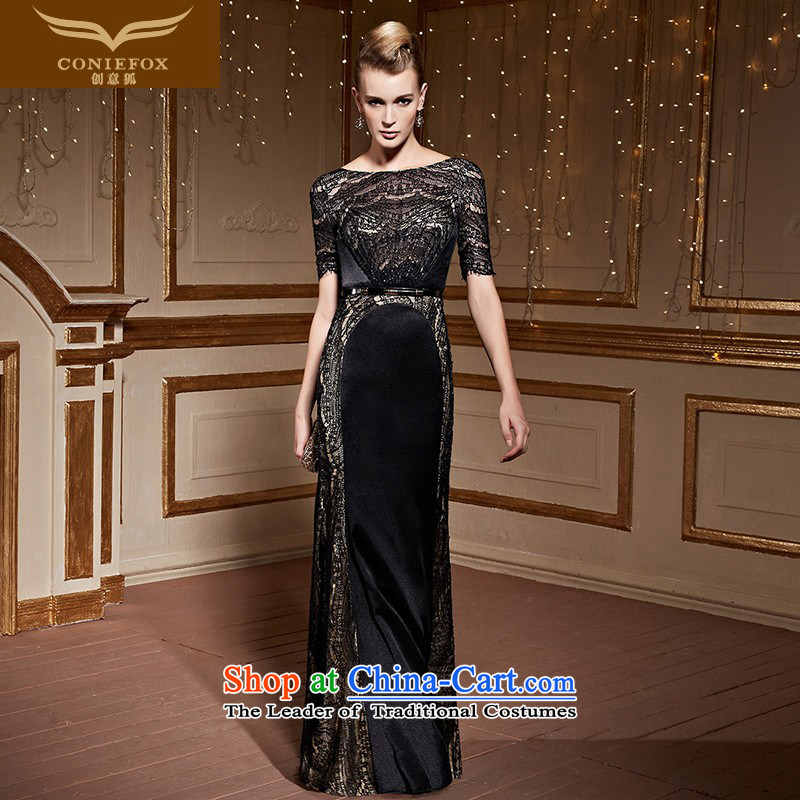 Creative Fox stylish lace short-sleeved gown long skirt Sau San long round-neck collar shoulders dress was chaired by evening dress toasting champagne annual service�30952�Black�S