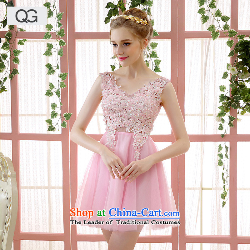 Wedding dress in the summer and autumn of 2015 the new bride wedding dress shoulders, red black and white short skirt bows to dress meat pink�XS