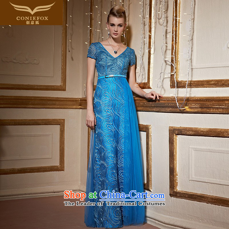 Creative Fox stylish V-Neck banquet dinner dress blue dress will preside over evening dresses annual bows to Sau San dropped long skirt 30956 blue?L