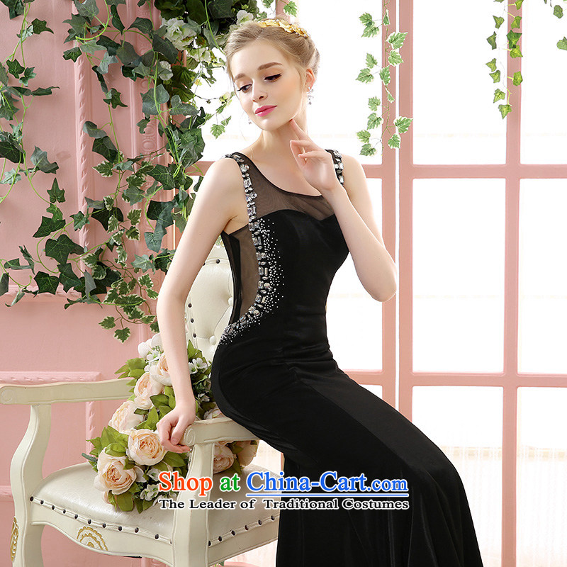2015 Autumn and winter new summer wedding dresses marriages bows long evening dresses red female wedding dresses crowsfoot black black?S