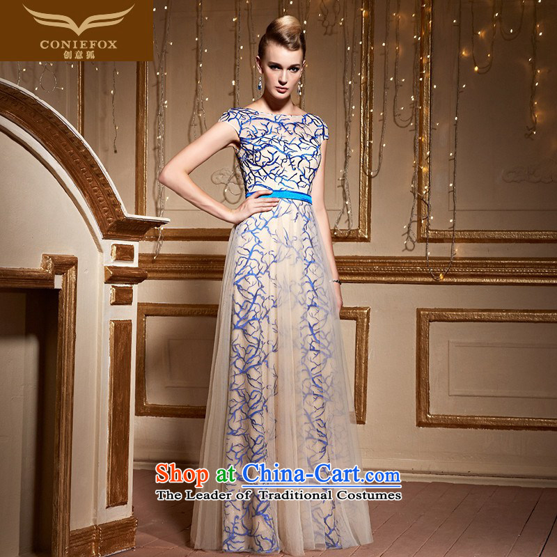 Creative Fox?2015 round-neck collar personality shoulders banquet evening dresses and stylish lace and long skirt annual meeting presided over the Internet will dress 30961 picture color?XXL pre-sale