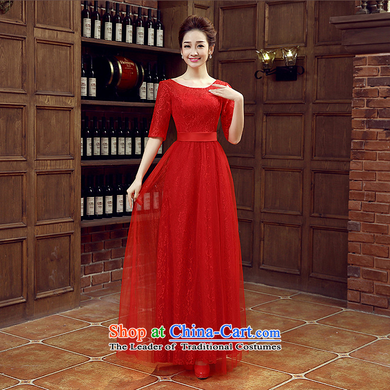 Non-you do not marry 2015 new wedding dress in autumn cuff long skirt elegant beauty bridesmaid evening dress retro lace bows service bridal dresses large red S
