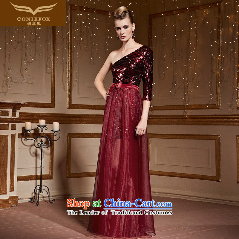 Creative Fox Red single shoulder length of nets dress Beveled Shoulder evening drink Service Bridal Fashion on the wedding dress chip banquet evening dresses 30963 wine red?S
