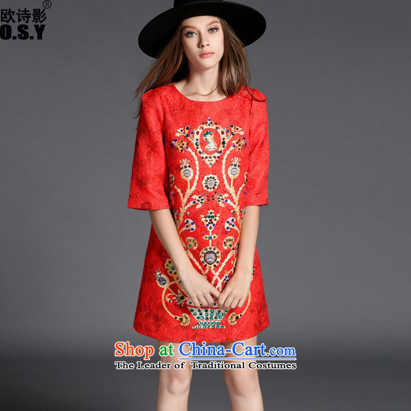 The OSCE Poetry Film 2015 autumn and winter new women's retro booking drill jacquard Sau San A skirt dresses red dress skirt wear skirts RED M