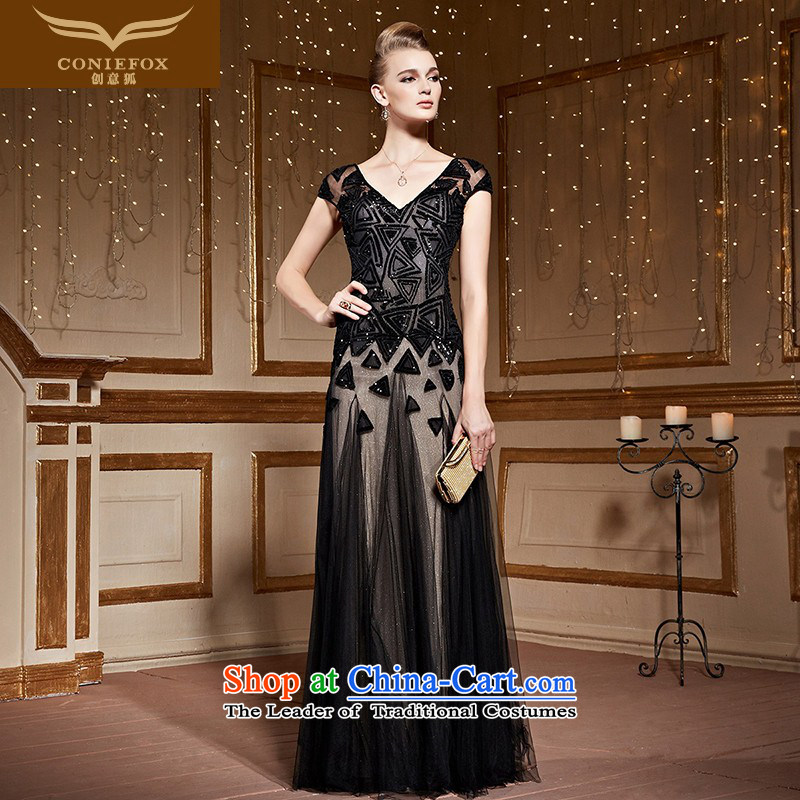 Creative Fox stylish shoulders banquet dinner dress black evening drink service elegant long V-Neck chaired dress reception party long skirt 30966?S Silver and Black