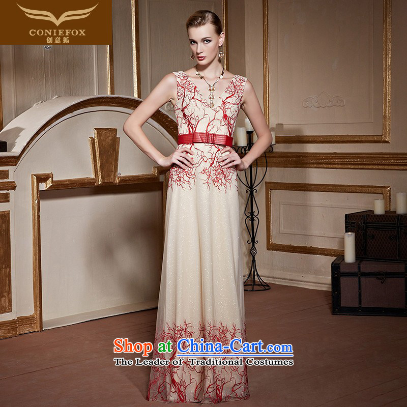 Creative Fox long shoulders elegant banquet hosted the annual dinner dress dress stylish V-Neck embroidered evening will serve long skirt 30981 bows pink?XL