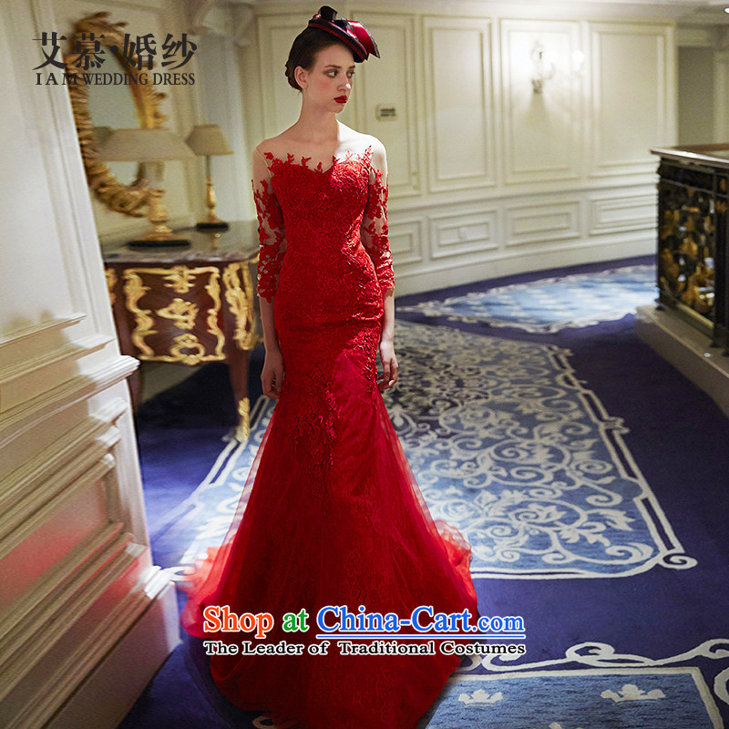 Wedding dresses new 2015 love you want to drop the red crowsfoot bows serving evening dresses RED?M