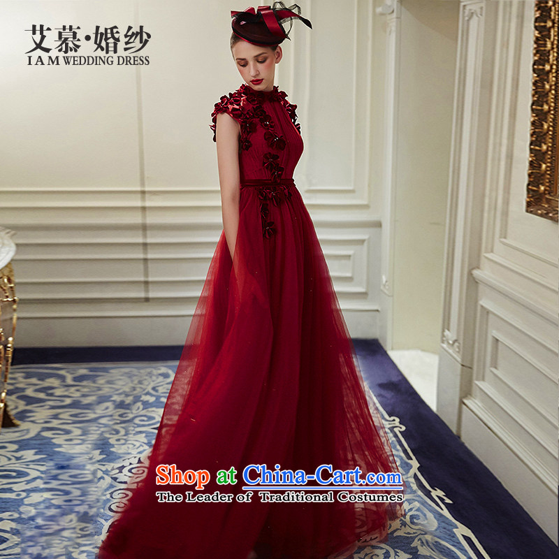 The wedding dresses HIV 2015 new heart, wine red Top Loin of bows to dress wine red S